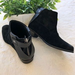 Joe's black suede leather ankle boots exposed zip